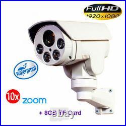 CCTV 1080P IR IP 10X PTZ Bullet Day/Night Outdoor Camera 2.0MP Onvif 8G sd card
