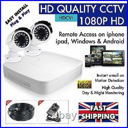 HD CCTV 1080P 4 Channel DVR SURVEILLANCE -1 x DVR (1TB) 2 x DAY & NIGHT Cameras