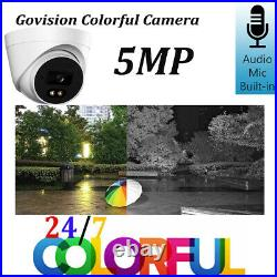 Hikvision CCTV System 5MP Color At Night Day Camera DVR Home Security Audio Kit