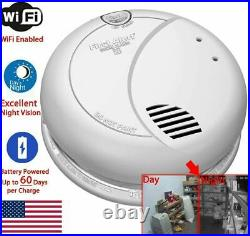 Jovision Night Vision WiFi Smoke Detector Spy Camera 60 Day Battery